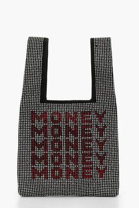 boohoo Money Money Money Diamante Mini Tote Bag