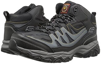 Skechers Holdredge - Rebem (Black Leather/Charcoal Trim) Men's Shoes