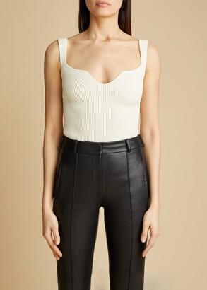 KHAITE The Yves Bodysuit in Ivory