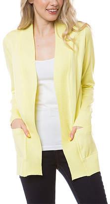 SBS Fashion Fashion Women's Open Cardigans Lemon - Lemon Yellow Pocket Open Cardigan - Women