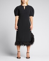 Thumbnail for your product : Huishan Zhang Feather-Trimmed Crepe Midi Dress
