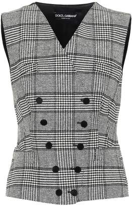 Dolce & Gabbana Checked silk and wool-blend vest