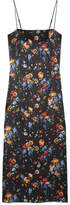ADAM by Adam Lippes Floral-print Hammered Silk-crepe Midi Dress - Black