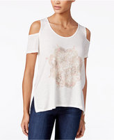 Jessica Simpson Lorani Cold Shoulder Graphic Top