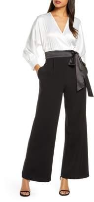 Eliza J Long Sleeve V-Neck Satin Bodice Jumpsuit