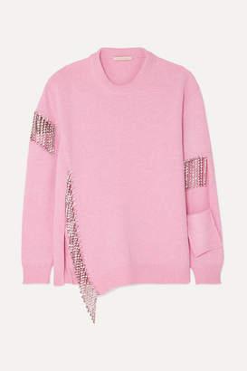 Christopher Kane Oversized Crystal-embellished Cutout Wool Sweater - Pink
