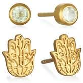 Satya Jewelry Womens Amethyst Gold Hamsa Stud Earrings Set