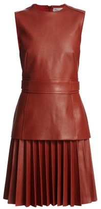 Oscar de la Renta Sleeveless Leather Pleated A-Line Dress