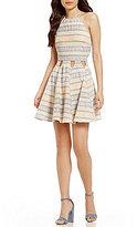 C & V Chelsea & Violet High Neck Striped Cutout Skater Dress