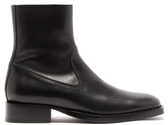 Ann Demeulemeester Square-toe Leather Ankle Boots - Womens - Black