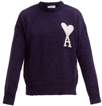 Ami Logo Intarsia Cotton Blend Sweater - Mens - Purple