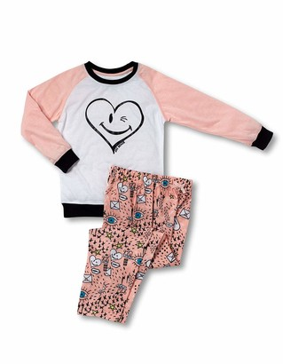 Joe Boxer Big Girl's Sketchbook Tee/Pant Set Sleepwear