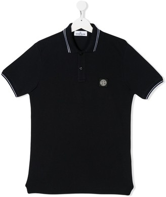 Stone Island Junior TEEN logo patch polo shirt