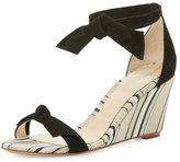Alexandre Birman Clarita Striped Wedge Sandal, Black/Balm/Natural