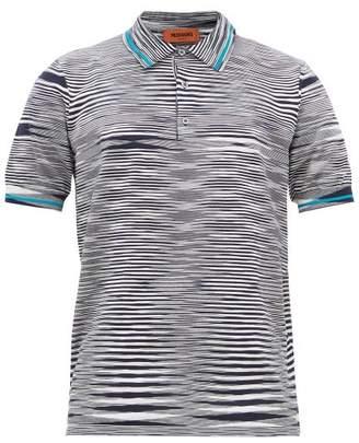 Missoni Striped Cotton-jersey Polo Shirt - Mens - Navy Multi