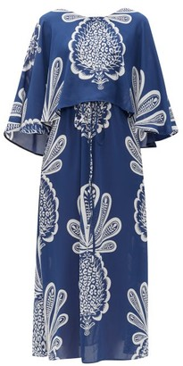 La DoubleJ Bain Douche Pineapple-print Georgette Dress - Blue Print