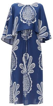 La DoubleJ Bain Douche Pineapple-print Georgette Dress - Womens - Blue Print