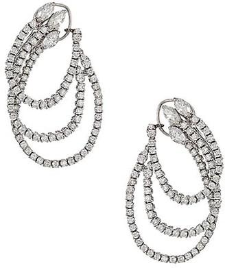 Zydo Luminal 18K White Gold Diamond Front-Facing Triple-Hoop Earrings