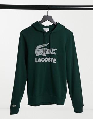 Lacoste flocked large croc logo sweat in dark green