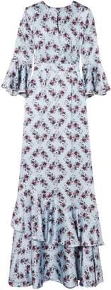Erdem Venice Ruffle-trimmed Floral-print Silk-satin Gown