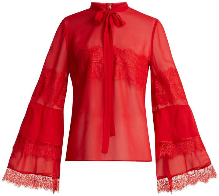 Giambattista Valli Tie-neck lace-trimmed silk-georgette blouse
