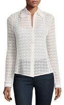 Rebecca Taylor Floral Eyelet-Lace Shirt, Chalk