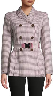 Fendi Plaid Double-Breasted Wool-Blend Jacket