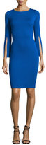 St. John Milano Knit Split-Sleeve Dress, Blue