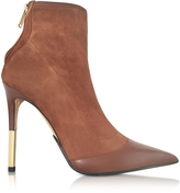 Balmain Blair Noisette Suede and Leather High Heel Booties