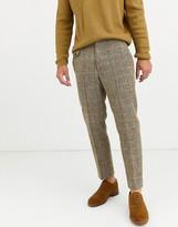 Asos Design DESIGN slim crop smart pants in 100% wool Harris Tweed in brown twill check