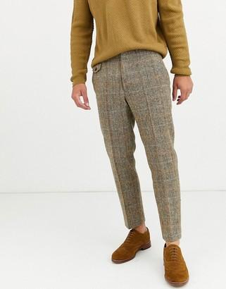 Asos DESIGN slim crop smart pants in 100% wool Harris Tweed in brown twill check