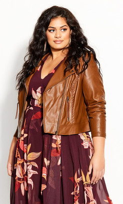 City Chic Whip Stitch Biker - pinecone