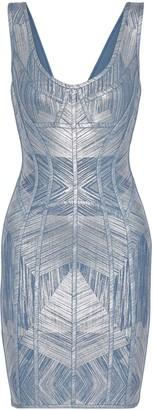 Herve Leger Nannette Metallic Printed Bandage Dress