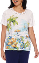 Alfred Dunner Cable Beach Short Sleeve Crew Neck T-Shirt