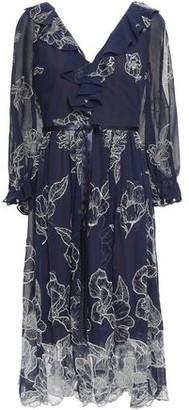 Marchesa Bow-embellished Scalloped Embroidered Chiffon Dress