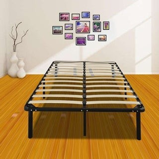 Overstock 74*38*14 Wooden Bed Slat and Metal Iron Stand Twin Size Iron Bed Black