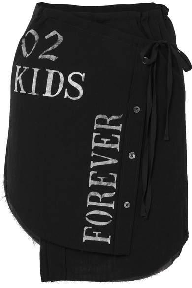 Ann Demeulemeester Printed Cotton-gauze Wrap Mini Skirt - Black