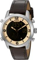 Fossil Men's FS5173 Pilot 54 Analog-Digital Dark Leather Watch