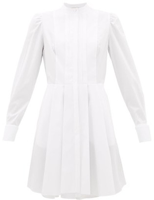 Alexander McQueen Pleated Cotton-poplin Shirt Dress - Womens - White
