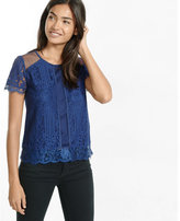 Express mixed mesh and lace tee