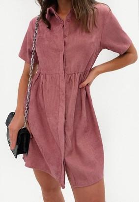 Missguided Blush Cord Shirt Smock Dress