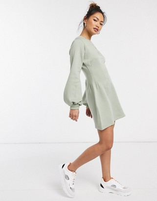 In The Style x Stephsa exclusive pleat waist detail sweat skater dress in sage