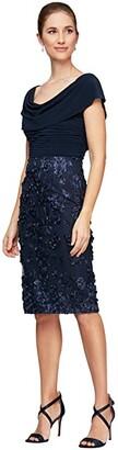 Alex Evenings Short Sleeves Cowl Neckline 3-D Flower Sheath Dress (Navy) Women's Dress