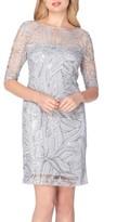 Tahari Petite Women's Sequin Illusion Sheath Dress