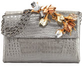 Nancy Gonzalez Rose Bud Crocodile Chain Shoulder Bag