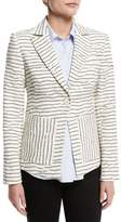 Derek Lam 10 Crosby Striped Textured Single-Button Blazer, White
