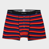 Paul Smith Men's Red And Navy Striped Four Button Boxer Briefs