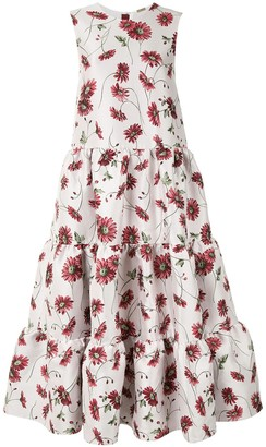 Adam Lippes Sleeveless Tiered Maxi Floral Midi Dress
