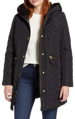 Cole Haan Signature Faux Shearling Lined Water Resistant Quilted Coat