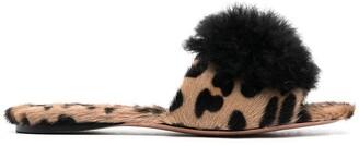 Aquazzura Foxy leopard print pom-pom sandals